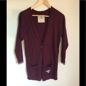 NWOT Hollister Long Burgundy V-neck cardigan